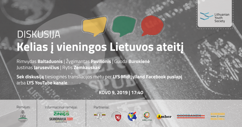 """Diskusijos """"Kelias į vieningos Lietuvos ateitį"""" viršelis su remėjų ir partnerių logotipais."""